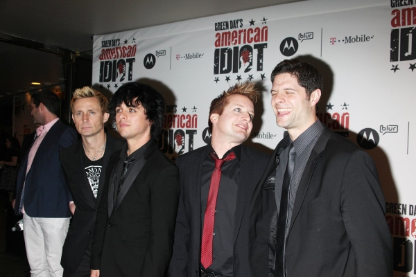 Mike Dirnt, Billie Joe Armstrong and Tre Cool with Tom Kitt