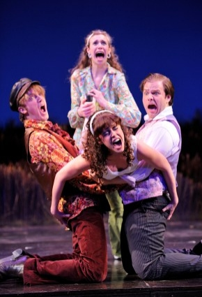 Lina Chambers as Helena; center bottom, actor Gisela Chipe as Hermia; left, actor Kevin Crouch as Lysander; right, actor Dane Agostinis