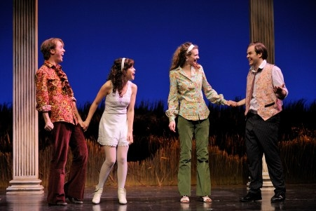 Kevin Crouch as Lysander, actor Gisela Chipe as Hermia, actor Lina Chambers as Helena and actor Dane Agostinis