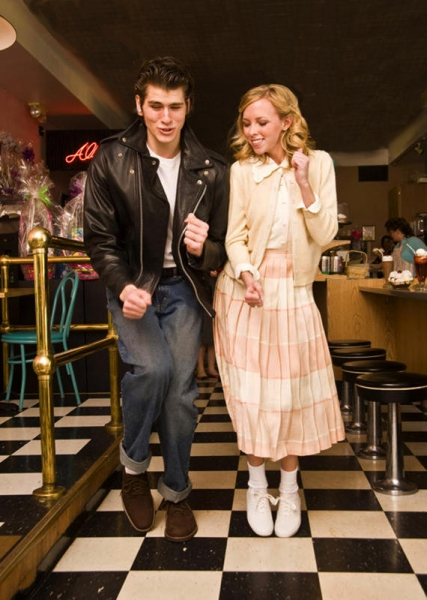 Luke Rose of Harrison Township as Danny Zuko and Stephanie Rinderknecht of Grosse Pointe Woods as Sandy Dumbrowski. Photo by Larry Peplin.