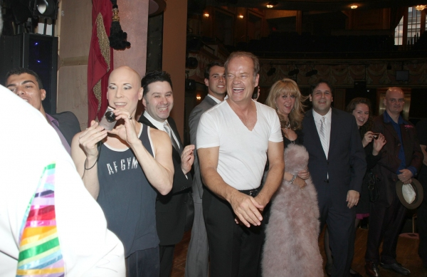Dale Hensley (Gypsy Winner- La Cage) with Christophe Caballero, Jim Byk, Kelsey Grammer, Sonia Friedman, David Babani, Terry Johnson