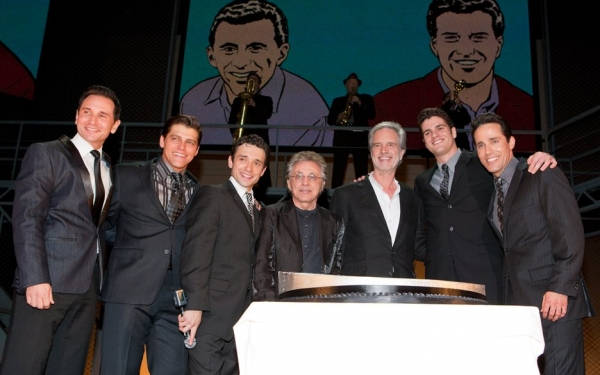Travis Cloer, Deven May, Rick Faugno, Frankie Valli, Bob Gaudio, Peter Saide and Jeff Photo