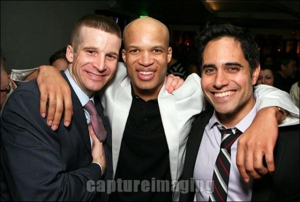 Brad Fleischer and Glenn Davis pose with Playwright Rajiv Joseph