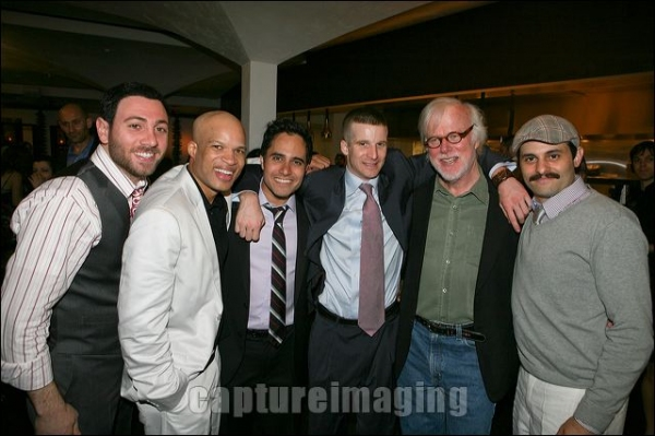 Hrach Titizian and Glenn Davis pose with Playwright Rajiv Joseph and cast members Brad Fleischer, Kevin Tighe and Arian Moayed