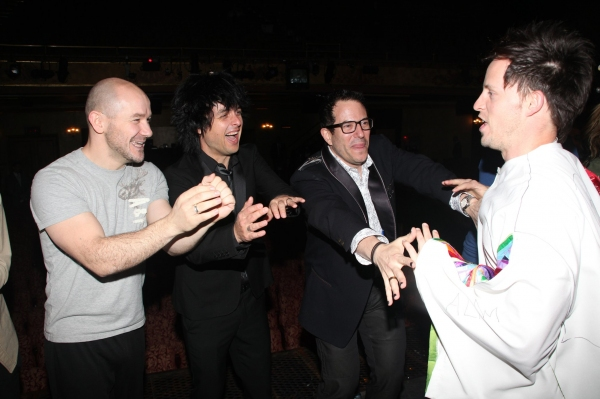 Steven Hoggett, Billie Joe Armstrong, Michael Mayer and Andrew Call at AMERICAN IDIOT Gypsy Robe Ceremony