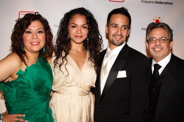 Lillian Rodriguez Lopez, Karen Olivo, Lin-Manuel Miranda and Luis A. Miranda