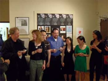 Managing Director Brian Loevner toasts the playwright Will Cooper and the cast