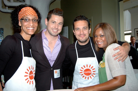 Carla Hall, Ryan Scott (tonight's Emcee), Fabio Viviani, and Sunny Anderson (Food Network Host)