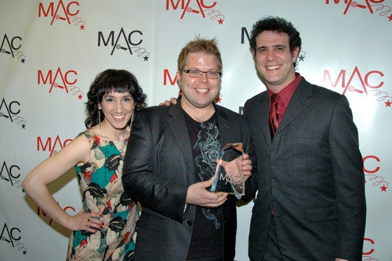 Gabrielle Stravelli, Brandon Cutrell and Adam Feldman at Backstage at the MAC Awards