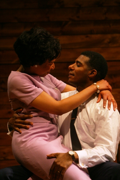 Corrine (Karen Aldridge) and James (Billy Eugene Jones) share a tender moment amongst the chaos of segregation at The Goodman Theatre's THE GOOD NEGRO