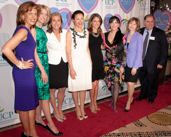Hoda Kotb, Paula Zahn, Meredith Vierra, Ann Curry, Natalie Morales, Loreen Arbus, Donna Hanover, and Ed Matthews at Women Who Care 9th Annual Luncheon