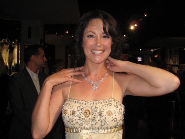 Suite Life's Kim Rhodes wears a Michael John creation - Handcrafted Lacy, Filigree Necklace with 5.40 carat round brilliant diamonds in18 carat white gold valued at $23,800