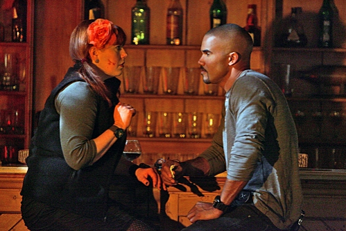 Garcia (Kirsten Vangsness, left) talks with Morgan (Shemar Moore, right) about her role on the BAU team.