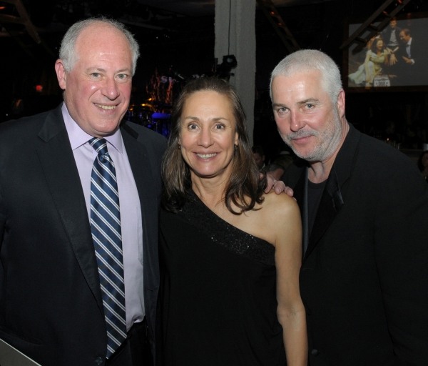 Illinois Governor Pat Quinn with Steppenwolf ensemble members Laurie Metcalf and William Petersen