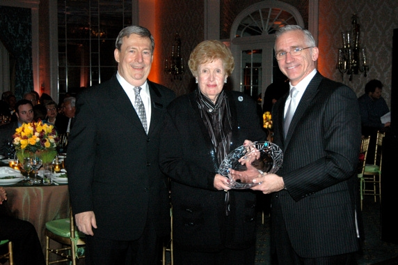 Mark W. Jones, Adelaide Zagoren and Mark S. Hoebee with the Antoinette Scudder Patron of the Arts Award