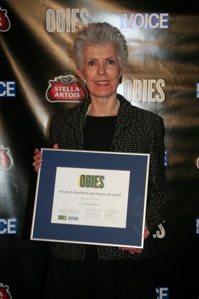 Carmen Kovens accepting on behalf of Ariane Mnouchkine and Théâtre du Soleil