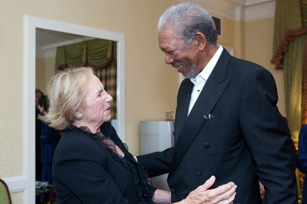 Ethel Kennedy and Morgan Freeman