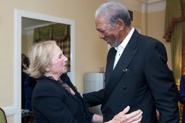 Ethel Kennedy and Morgan Freeman