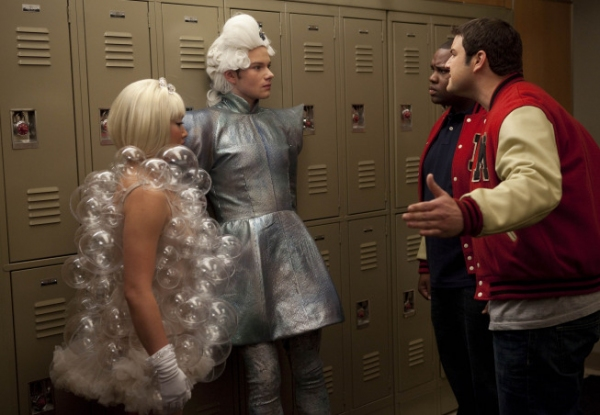 Tina (Jenna Ushkowitz, L) and Kurt (Chris Colfer, second from L) are approached by Karofsky (Max Adler, R) and Azimio (James Earl III, third from L) at GLEE Goes 'Gaga' on May 25