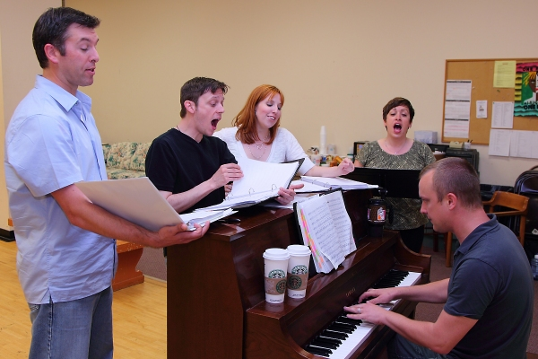 Jamie Cordes, Scott Hunt, Tory Ross and Katie Pees with Music Director Sean Michael Flowers