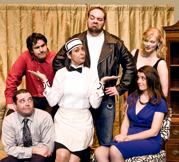 Paul Valleau (sitting) as Robert, Josh Visnapuu as Bernard, Karen Schaeffer as Suzette, Micheal Davenport as George, Megan Schettler-Schug (standing) as Suzanne, and Lindsay Fox