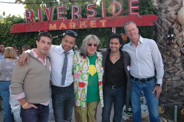 Party guest David, Jai Rodriguez, Allee Willis, John Lloyd Young and APLA Executive Director Craig E. Thompson