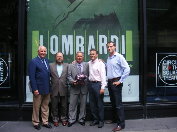 Frank McLaughlin, Fordham Director of Athletics (Fordham '71); John Cirillo , Fordham PR ('74); Tom Masella, Head Fordham Football Coach; Joe Favorito, LOMBARDI staff (Fordham '85); and John Johnson, Fordham alum and LOMBARDI associate producer (Fordham ' at LOMBARDI Debuts Window Display at Circle in the Square Theatre on Broadway