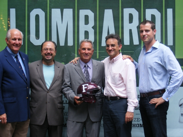 Frank McLaughlin, Fordham Director of Athletics (Fordham '71); John Cirillo , Fordham PR ('74); Tom Masella, Head Fordham Football Coach; Joe Favorito, LOMBARDI staff (Fordham '85); and John Johnson, Fordham alum and LOMBARDI associate producer (Fordham '