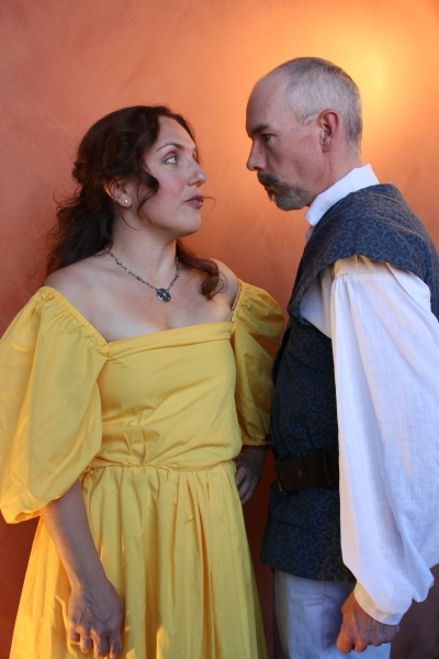 Trish Annese portraying Beatrice and Mark Casey as Benedick