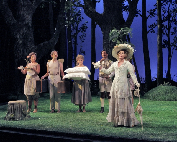 (L to R) Laura Wilde as Mrs. Nordstrom, Mark Van Arsdale as Mr. Erlanson, Lauren Jelencovich as Mrs. Nordstrom, Aaron Agulay as Mr. Lindquist, and Amy Irving as Desiree Armfeldt