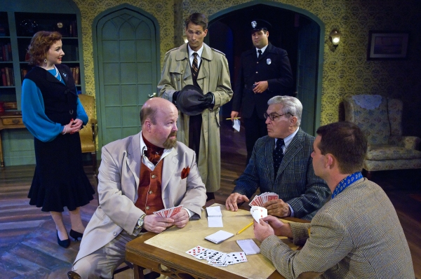 Sonya Cook as Clarissa, Eric Oleson as Inspector Lord and Aaron Fried as Constable Jones.  Foreground:  Dale Young as Sir Rowland, Gerard Pauwels as Hugo and Justin Klose