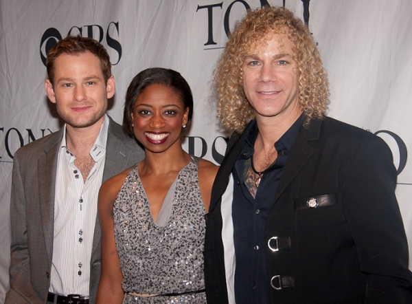 Chad Kimball, Montego Glover, and David Bryan at Tony Eve Cocktail Party