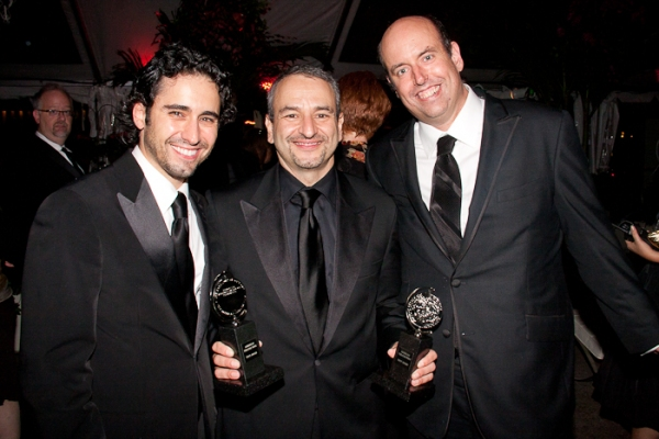 John Lloyd Young, Joe DiPietro, and Christopher Ashley at 2010 Tony BALL
