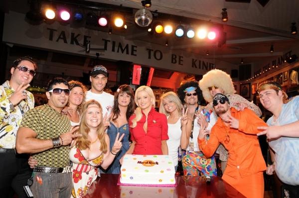 Josh Strickland, Laura Croft, Holly Madison and Angel Porrino with Hard Rock Cafe Staff