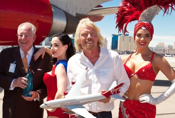Las Vegas Mayor Oscar Goodman, Dita Von Teese, Sir Richard Branson and a Showgirl Photo