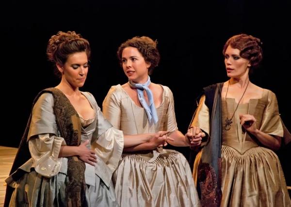 Aubrey Saverino as Regan, Catherine Gowl as Cordelia and Emily Swallow