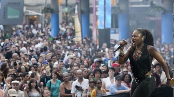 Jully Black with crowd at Yonge-Dundas Square Photo