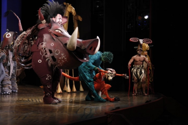 Ben Jeffrey as Pumbaa and Fred Berman as Timon at THE LION KING Welcomes New Cast Members