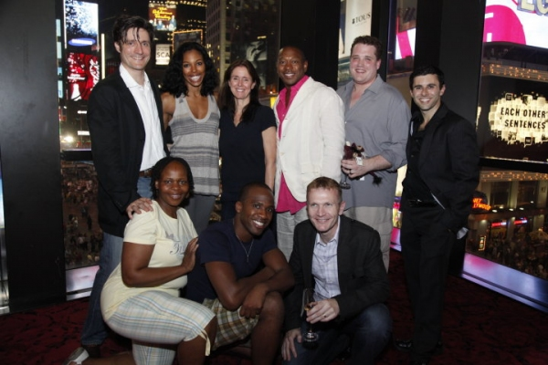 Gareth Saxe, Chaunteé Schuler, Julie Taymor (center), Alton Fitzgerald White, Ben Jeffrey, Fred Berman (back row). Tshidi Manye, Dashaun Young, Cameron Pow (front row) at THE LION KING Welcomes New Cast Members