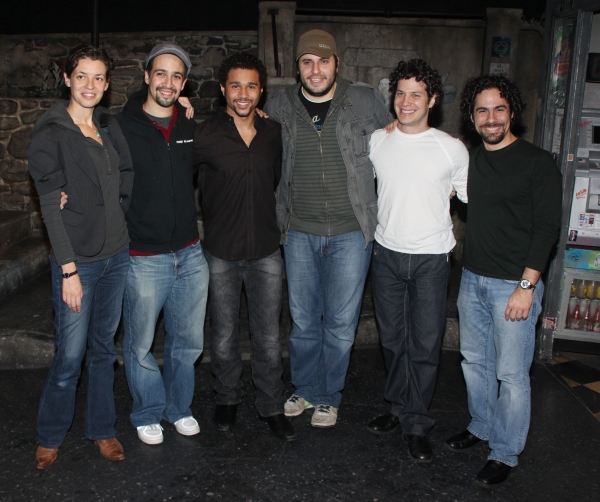 Quiara Alegria Hudes, Lin-Manuel Miranda, Corbin Bleu, Bill Sherman, Thomas Kail and Alex Lacamoire at Backstage with Corbin Bleu at IN THE HEIGHTS