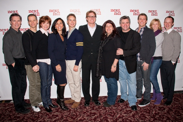 Cotter Smith, Patrick Breen, Connie Ray, Barbara Manocherian (Producer), Geoffrey Nauffts, Richard Willis (Producer), Sheryl Kaller, Anthony Barrile (Producer), Patrick Heusinger, Maddie Corman, and Sean Dugan at NEXT FALL Meets the Press