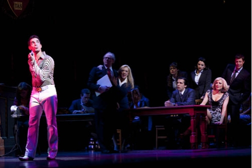 Dan Burton, Peter Davison, Sheridan Smith, Suzie McAdam, Alex Gaumond, Caroline Keiff,  Aoife Mulholland, and Duncan James  at LEGALLY BLONDE Plays the West End - New Production Shots