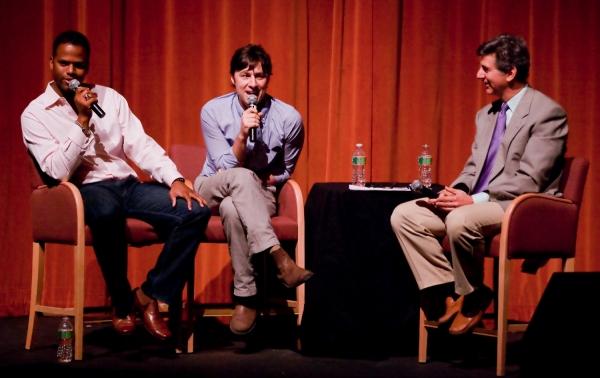 AJ Calloway of EXTRA TV, actor Zach Braff, and Budd Mishkin of NY 1 TV
