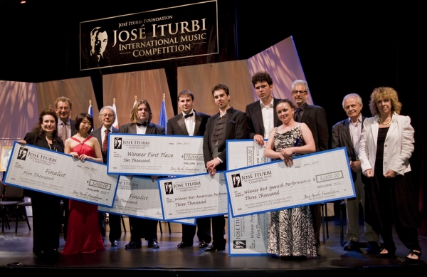 Donelle Dadigan (Co-Founder and President), Daniel Pollack (Chairman Piano Jury),  Claire Huangci (Finalist), Lalo Schifrin (Judge), Krystian Tkaczewski (Finalist), Stanislav Khristenko (First Prize Winner), Goran Filipec (American Prize), Vladimir Khomia