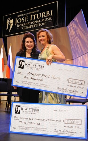 First Prize for Vocal, Sasha Cooke with Donelle Dadigan (Co-Founder and President) at Jose Iturbi Foundation Music Competition