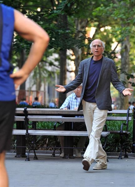 Larry David at Photos: Cheyenne Jackson Begins Shooting for 'Curb Your Enthusiasm'