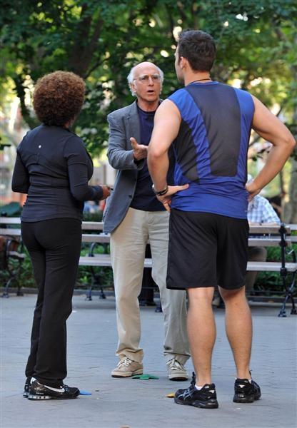 Larry David, Wanda Sykes, and Cheyenne Jackson at Photos: Cheyenne Jackson Begins Shooting for 'Curb Your Enthusiasm'