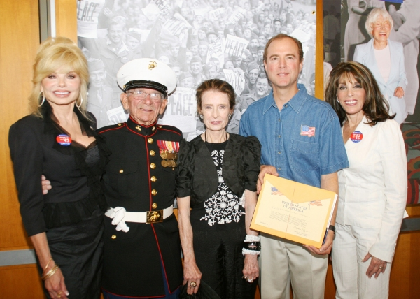 "Loni Anderson, Harold ""Skip"" Adams (Gunnery Sargent USMC retired), Margaret O'Brien, Congressman Adam Schiff and Kate Linder."