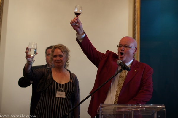 Jacoba Knaapen toasting with Kyle Rae