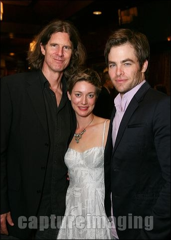 Director Wilson Milam poses with cast members Zoe Perry and Chris Pine  Photo